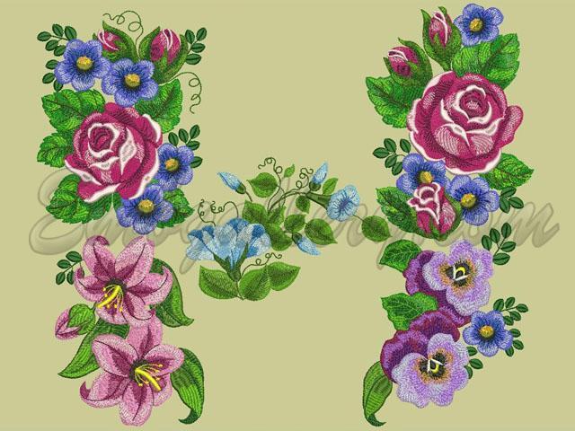 Дизайны машинной вышивки цветов