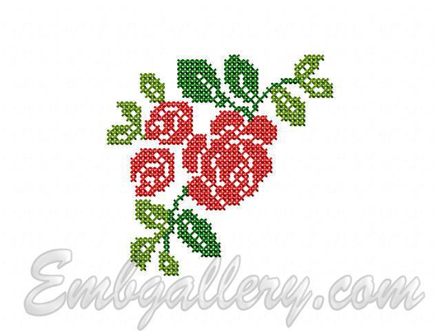 Вышивка крестом роза простая схема 35