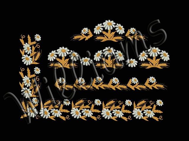 Дизайн для машинной вышивки ромашки 6