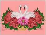 """""""Лебеди и розовый венок""""_крестиком"""